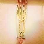 Tan Ankh beaded necklace